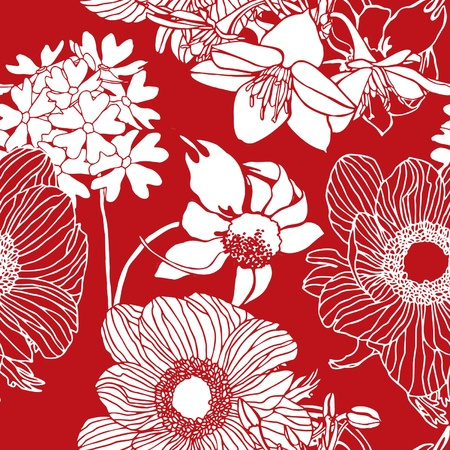 Elegance Seamless pattern with flowers, floral illustration in vintage style Illustration