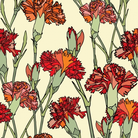 Elegance Seamless pattern with flowers cloves, vector floral illustration in vintage style