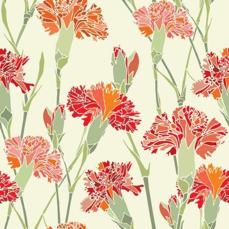 Elegance Seamless pattern con chiodi di garofano fiori, illustrazione vettoriale floreali in stile vintage Vettoriali