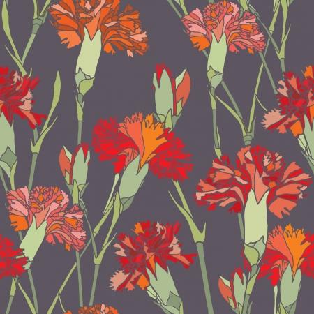 cloves: Elegance Seamless pattern with flowers cloves, vector floral illustration in vintage style Illustration