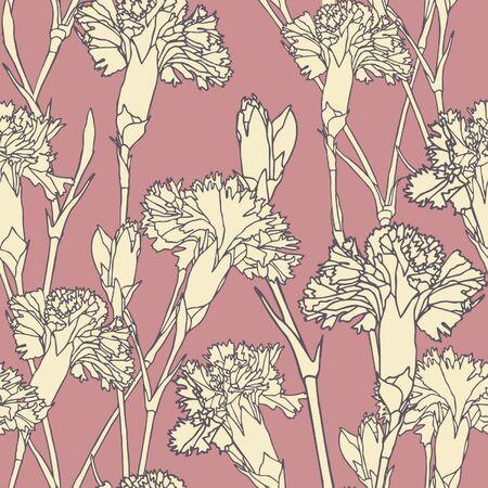 clous de girofle: Mod�le d'�l�gance transparente avec des fleurs, des gousses d'illustration floral dans un style vintage Illustration