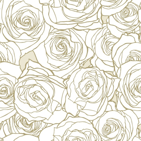 roses background: Elegance Seamless pattern with flowers roses, floral illustration in vintage style Illustration