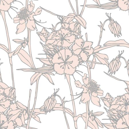 Elegance Seamless pattern with flowers, vector floral illustration in vintage style Vector
