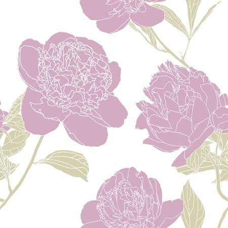 Elegance Seamless pattern with flowers peonies, vector floral illustration in vintage style Vector