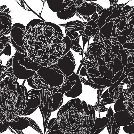 pfingstrosen: Elegance Nahtlose Muster mit Blumen Pfingstrosen, vector floral illustration im Vintage-Stil