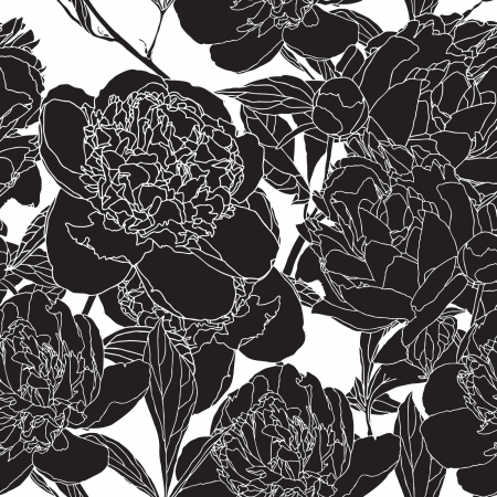 Elegance Seamless pattern con peonie fiori, illustrazione vettoriale floreali in stile vintage
