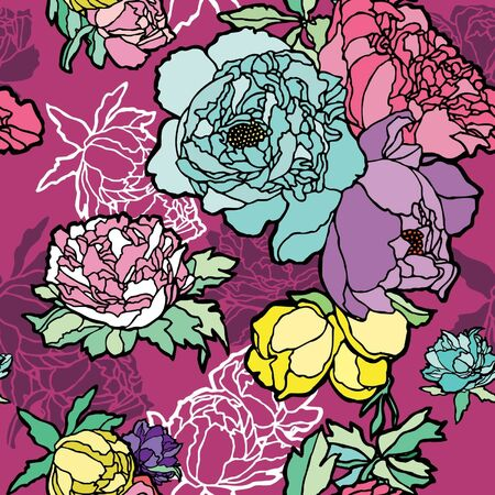 Elegance Seamless pattern with rose flowers, vector floral illustration in vintage style Stock Vector - 14177221