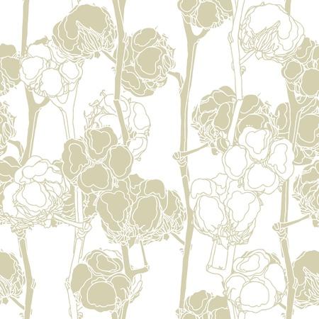 Elegance Seamless pattern con cotone, illustrazione vettoriale floreali in stile vintage