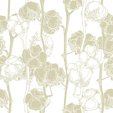 cotton: Elegance Seamless pattern with cotton, vector floral illustration in vintage style
