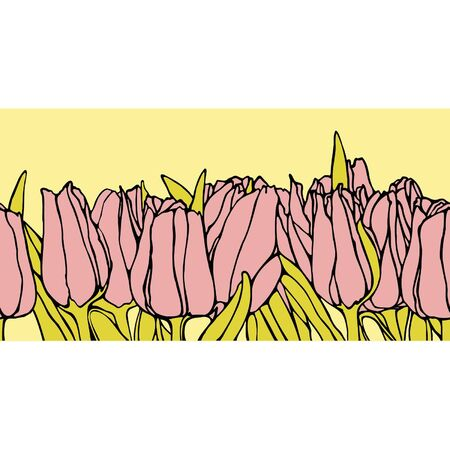 Elegance Seamless pattern with flowers tulips, vector floral illustration in vintage style Vector