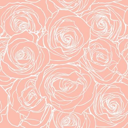 Modello di eleganza senza giunte con i fiori rosa, illustrazione vettoriale floreale in stile vintage