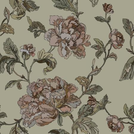 エレガンス花バラでシームレスなパターン ベクトル ビンテージ スタイルの花のイラスト