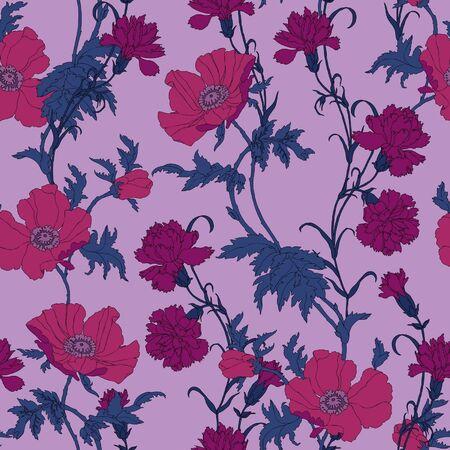 claveles: Elegance Modelo incons�til de amapolas flores y claveles, ilustraci�n vectorial florales de estilo vintage