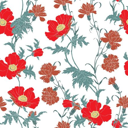 carnations: Elegance Seamless pattern with flowers poppies and carnations, vector floral illustration in vintage style Illustration