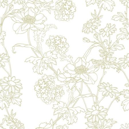 エレガンスと花、シームレスなパターン ベクトル ビンテージ スタイルの花のイラスト