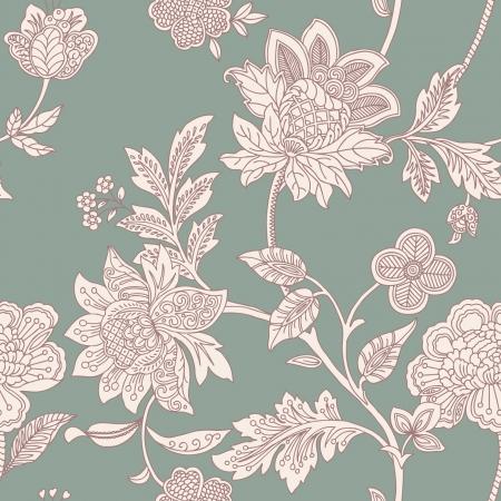 花飾り、ビンテージ スタイルのベクトル花のイラストとエレガントなシームレス パターン