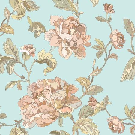 エレガンスのシームレスなパターンの花バラとビンテージ スタイルの花のイラスト