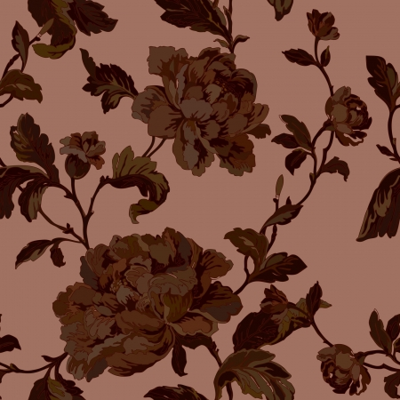 design floral: Elegance Seamless pattern with flowers roses, vector floral illustration in vintage style