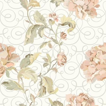 Elegance Seamless pattern con fiori, rose, vettore floreale illustrazione in stile vintage