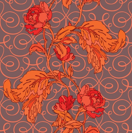 magnificence: Elegance Seamless pattern with flowers roses, floral illustration in vintage style Illustration