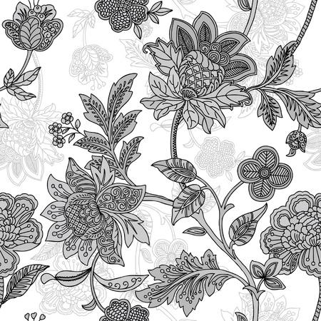 エレガンスのシームレスなパターンと花、ビンテージ スタイルの花のイラスト