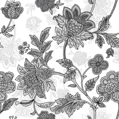 irises: Elegance Seamless pattern with flowers, floral illustration in vintage style Illustration