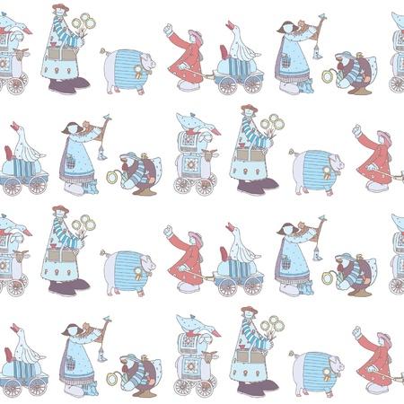 inhabitants: Seamless pattern con gruppo Illustrato di animali comici e gli abitanti della fattoria formato