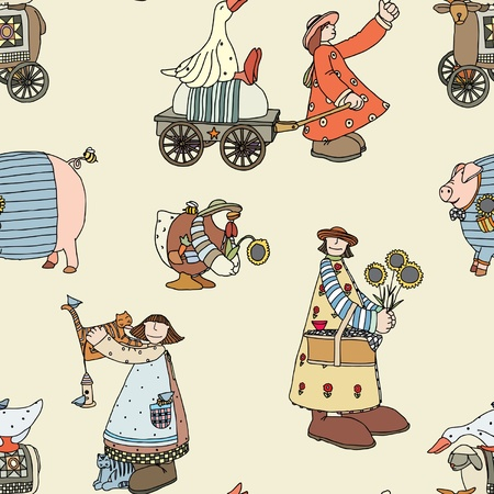 Seamless pattern with Illustrated group of comical animals and inhabitants of the farm   Vector