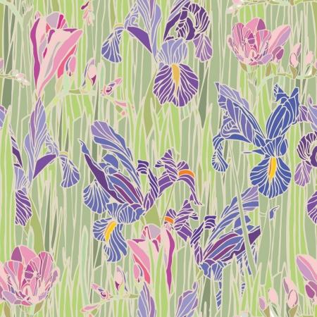 エレガンス花水仙とアイリス、ビンテージ スタイルの花のイラストとのシームレスなパターン