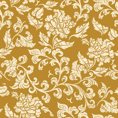 magnificence: Elegance Seamless pattern with flowers, vector floral illustration in vintage style