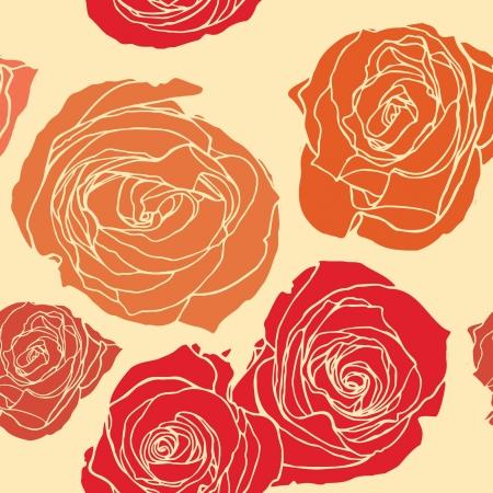 Elegance Seamless pattern di rose fiori, illustrazione floreale in stile vintage Vettoriali