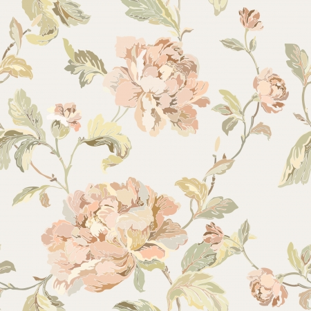 leafs: Elegance Seamless pattern with flowers roses, floral illustration in vintage style Illustration