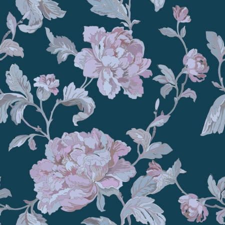 magnificence: Elegance Seamless pattern with flowers roses, vector floral illustration in vintage style