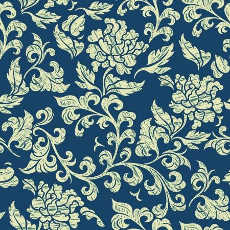 エレガンスのシームレスなパターンとヤグルマギク花、ビンテージ スタイルの花のイラスト