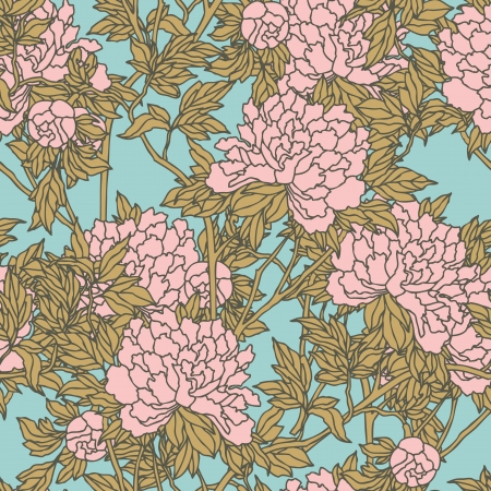 Elegance Seamless pattern with flowers peonies, vector floral illustration in vintage style