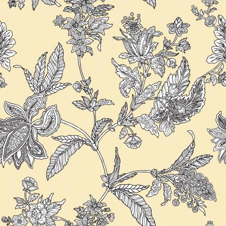 エレガンス花飾り, ビンテージ スタイルのベクトル花のイラストとのシームレスなパターン  イラスト・ベクター素材
