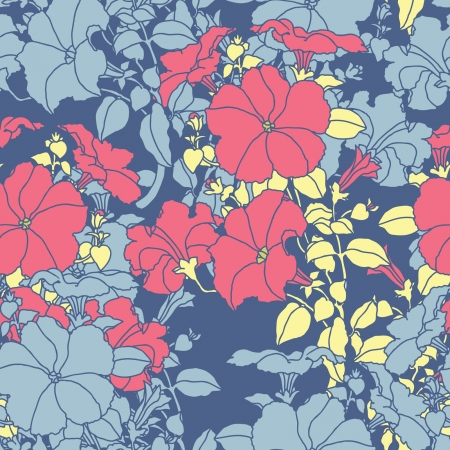 Elegance Seamless pattern con fiori ornamento, illustrazione vettoriale floreali in stile vintage