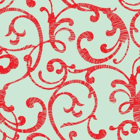 飾り, ビンテージ スタイルのベクトル花のイラストとエレガンスのシームレスなパターン  イラスト・ベクター素材