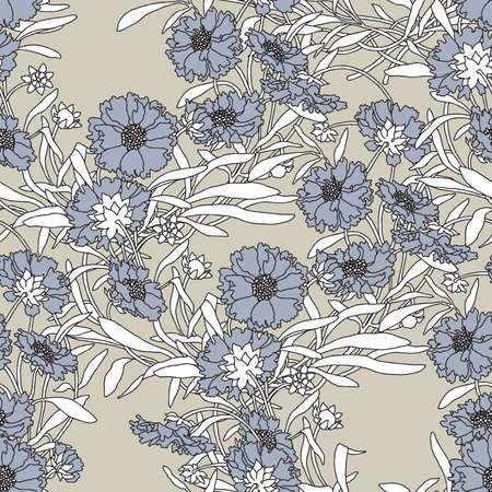 cornflowers: Elegance Seamless pattern with flowers cornflowers ornament  Illustration