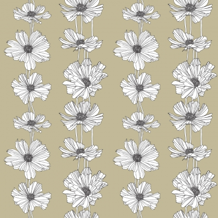 Elegance Seamless pattern with flowers  Vector