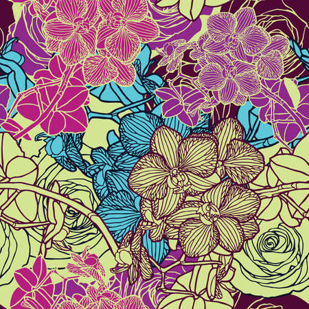 Elegance Seamless pattern with flowers orchids, vector floral illustration in vintage style Stock Vector - 24872241