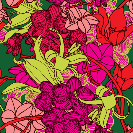 Elegance Seamless pattern with flowers orchids, vector floral illustration in vintage style Stock Vector - 24872244