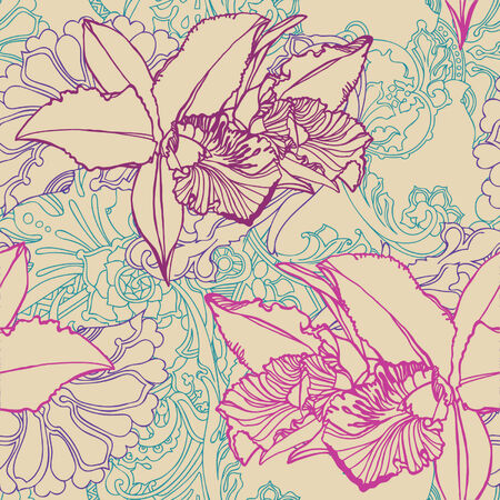 Elegance Seamless pattern with flowers orchids, vector floral illustration in vintage style Stock Vector - 24872247
