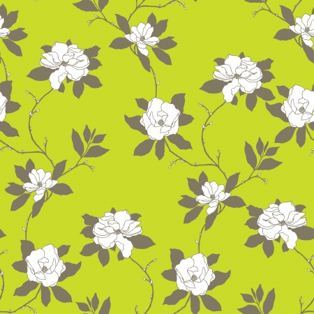 Elegance Seamless pattern with flowers rose and magnolia, vector floral illustration in vintage style  Rose bouquet Vector