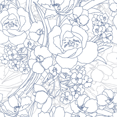 Elegance Seamless pattern with flowers roses, vector floral illustration in vintage style Stock Vector - 24872267
