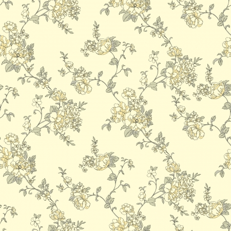 Elegance Seamless pattern with flowers roses, vector floral illustration in vintage style Vector