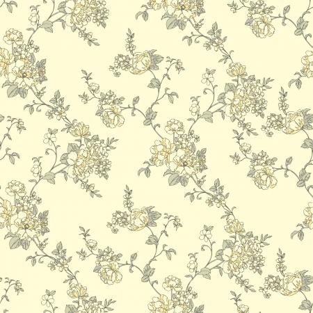 eglantine: Elegance Seamless pattern with flowers roses, vector floral illustration in vintage style