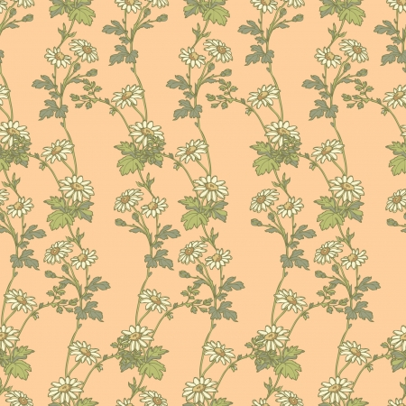 Elegance Seamless pattern with camomile flowers, vector floral illustration in vintage style Stock Vector - 24872292