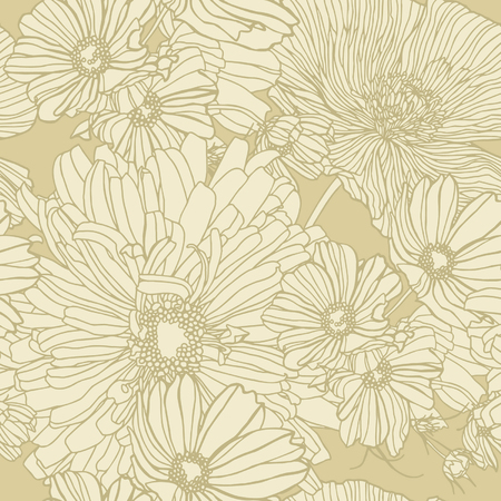 Elegance Seamless pattern with camomile flowers, vector floral illustration in vintage style Stock Vector - 24872299