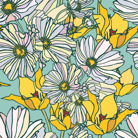 Elegance Seamless pattern with camomile flowers, vector floral illustration in vintage style Stock Vector - 24872304